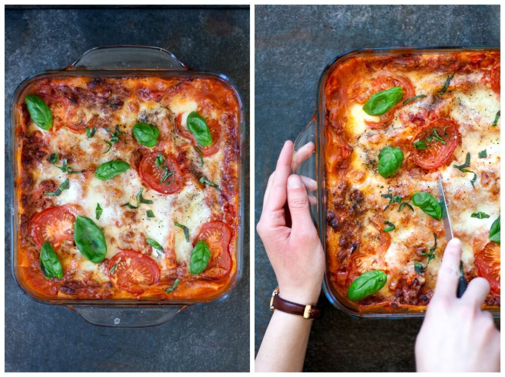 A dish of the best Low FODMAP Lasagna.