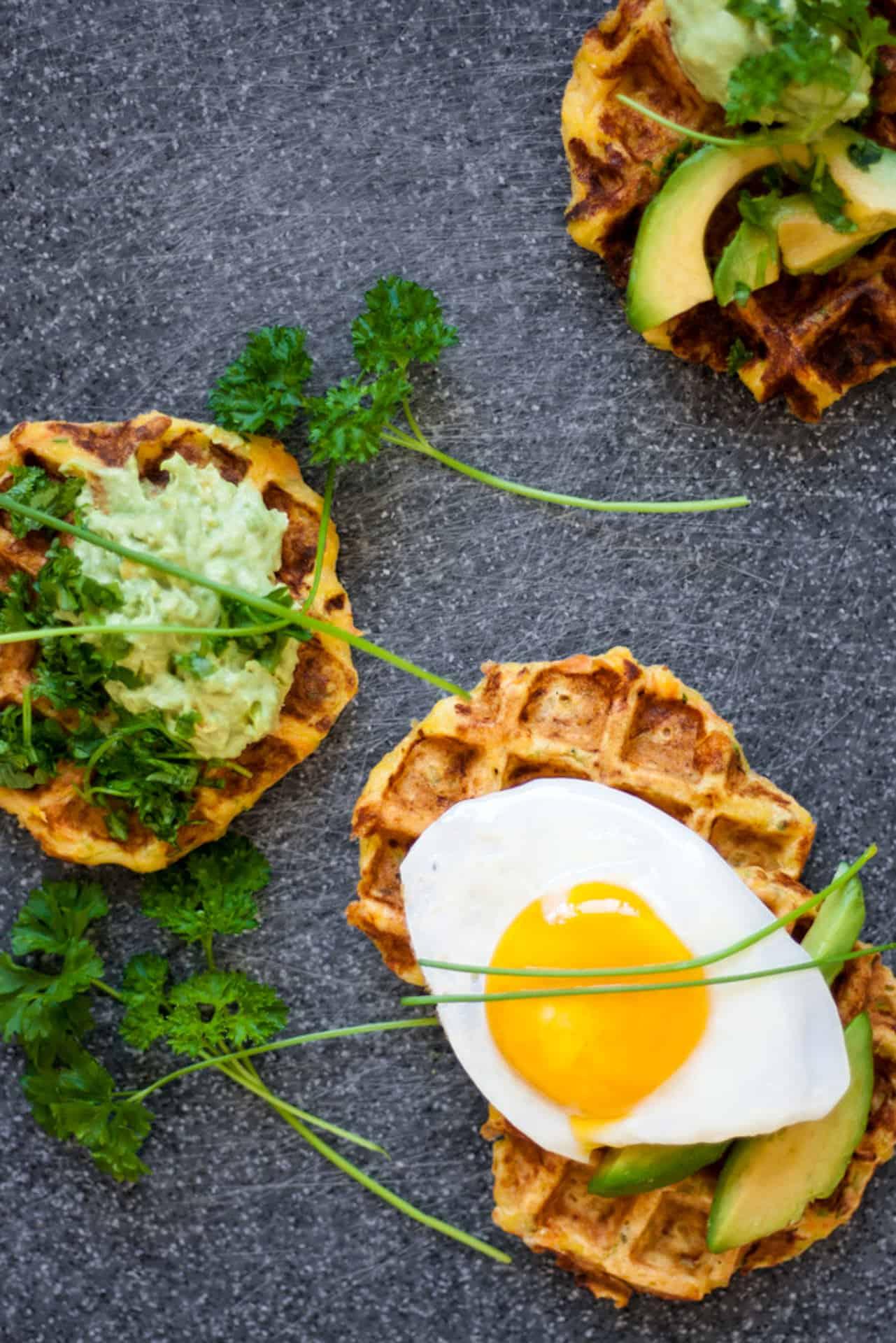 Gluten Free Savory Veggie Waffles.