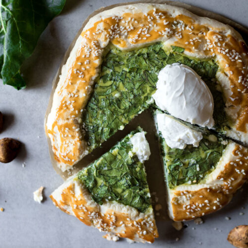 This Gluten-Free Galette With Chard and Feta is low FODMAP, healthy, flavorful, delicious with a super flaky texture. Plus super simple and easy to make!