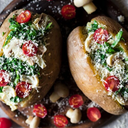Simple to make, 5 ingredient Low FODMAP Stuffed Baked Potatoes. They are super flavorful, cheesy, creamy, healthy and easy on the stomach.