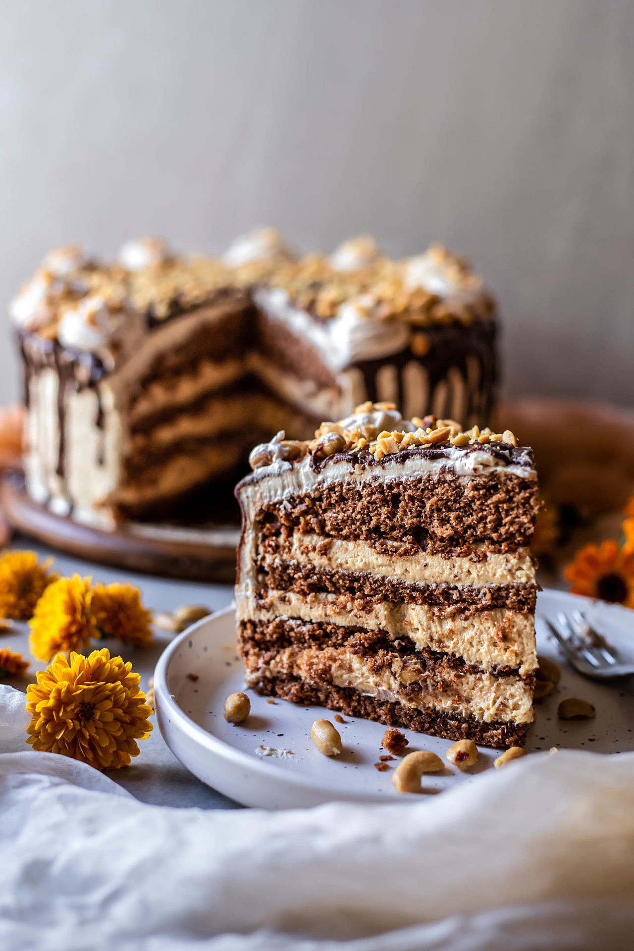 This gluten-free chocolate peanut butter cake is perfectly sweetened, moist, soft, super chocolaty, peanut butter infused, rich, flavorful and so delicious!