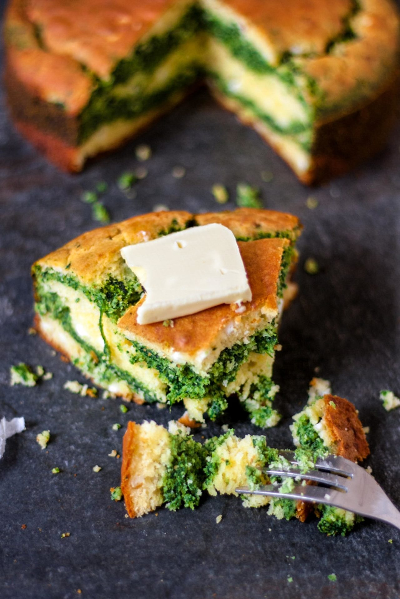 Gluten free cornbread with feta and spinach.