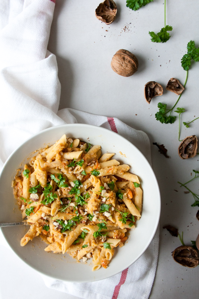Super simple Creamy Low FODMAP Red Lentil Pasta, that is vegan-friendly healthy and very delicious.