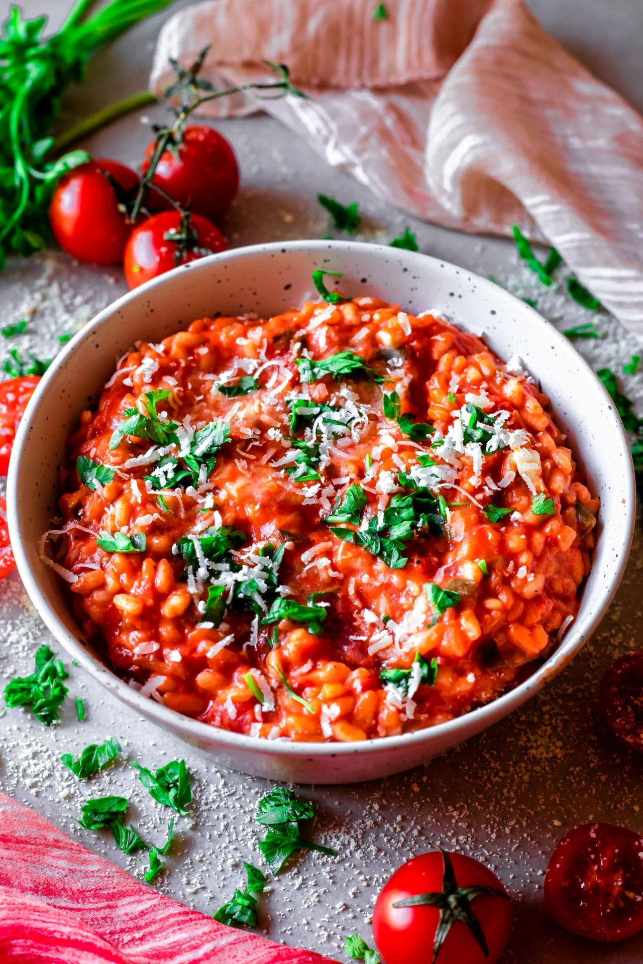 This Low FODMAP Creamy Tomato Risotto is super flavorful, savory, so creamy, simple to make, satisfying and so comforting and delicious!