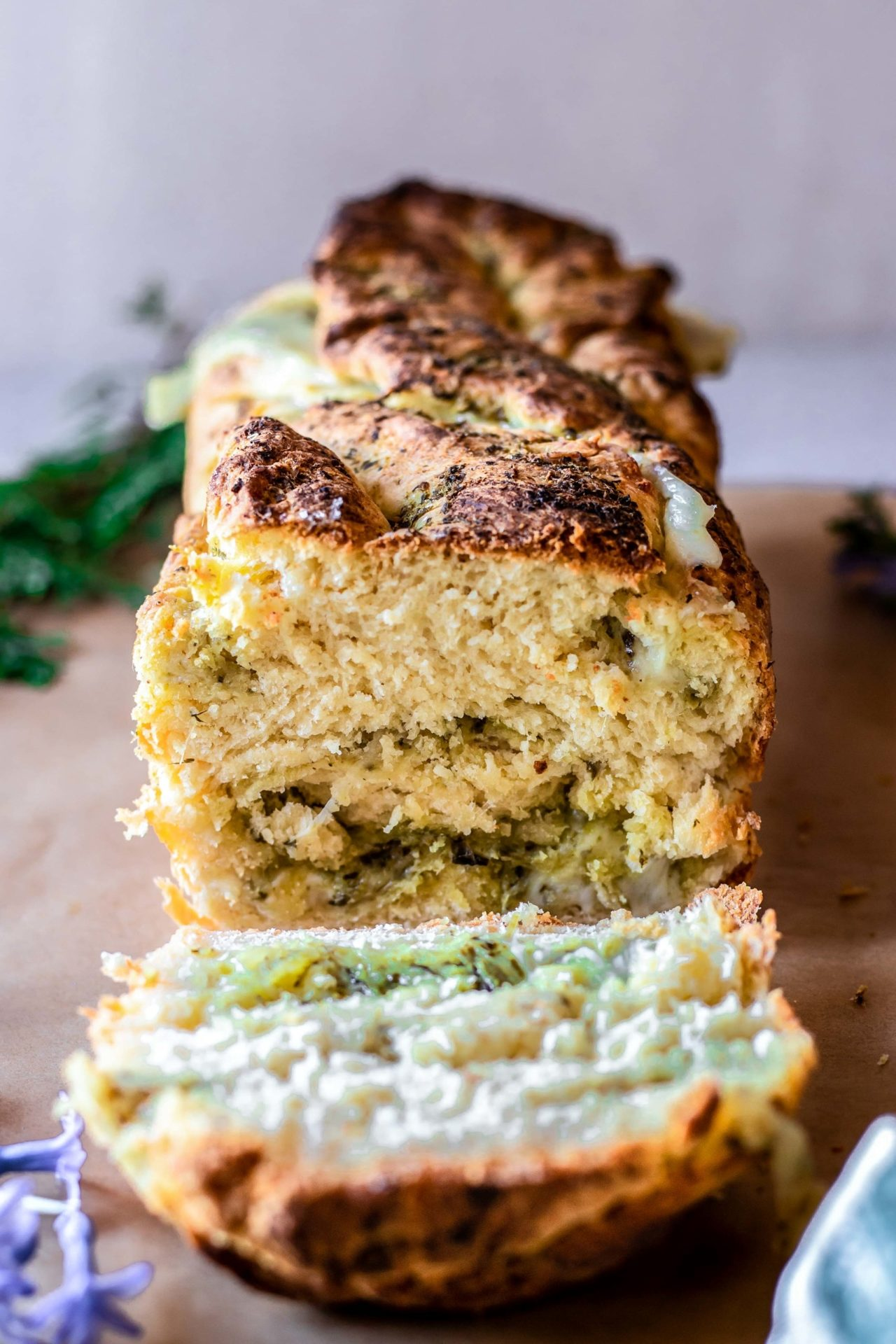 This Gluten Free Mozzarella and Pesto Stuffed Bread is pillowy soft, tender, flavorful, so cheesy, pesto-infused, and just beyond delicious!
