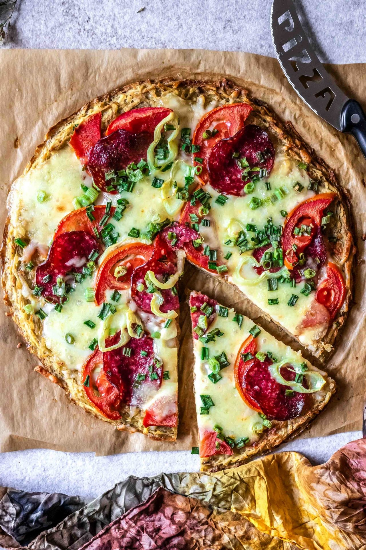 This potato crust pizza is crispy on the edges and tender in the middle, savory, healthy and so delicious! Plus it is low FODMAP, gluten, grain, and dairy-free!