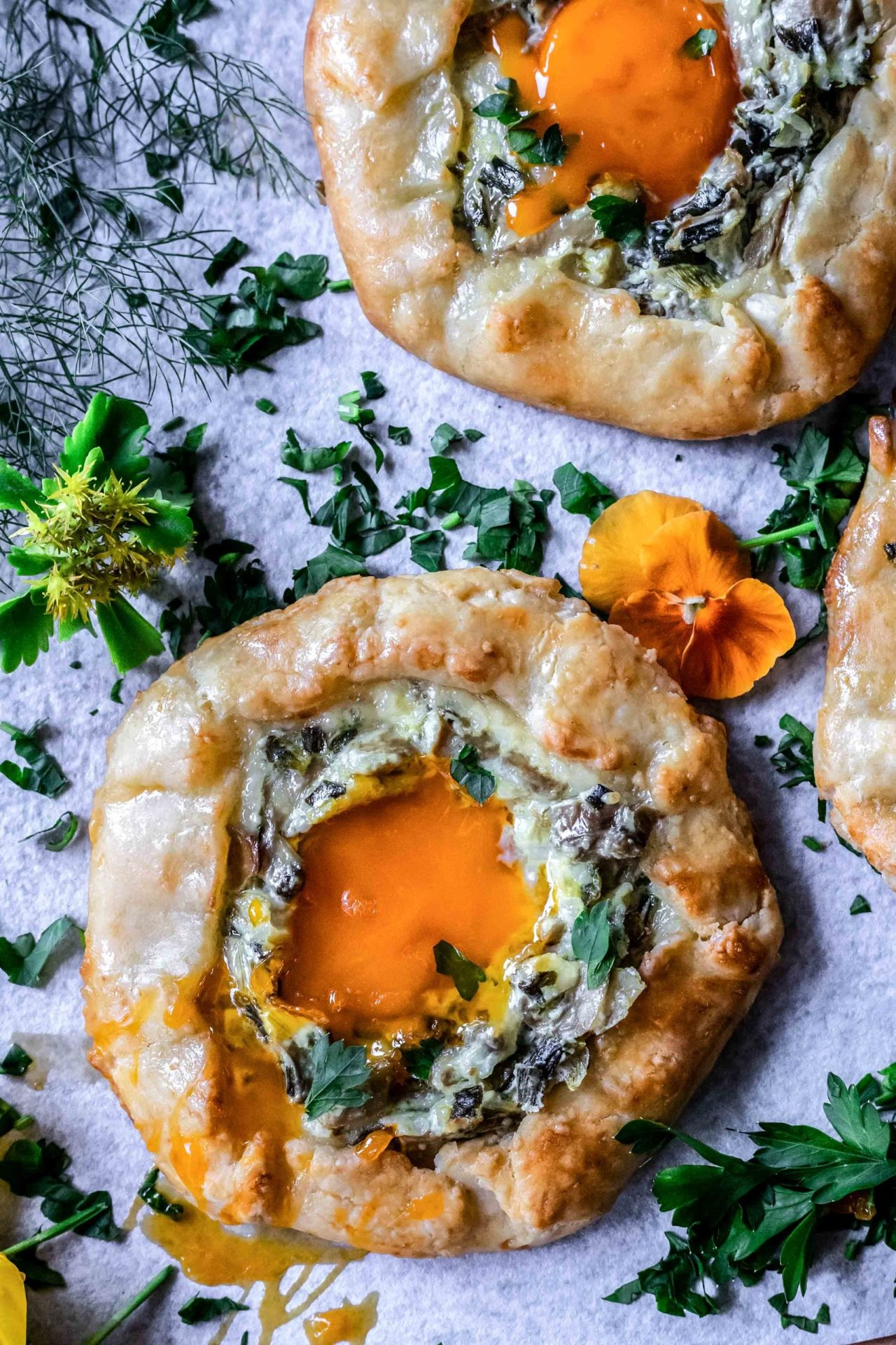 This Mushroom and Egg Galette is low FODMAP and Gluten-Free! Plus it is very simple to make, savory, cheesy and so delicious!