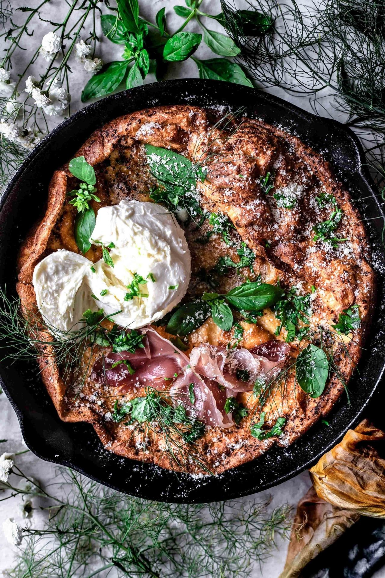 This Gluten-Free Savory Dutch Baby with Prosciutto and Parmesan is flavorful, savory, very simple to make and so delicious!