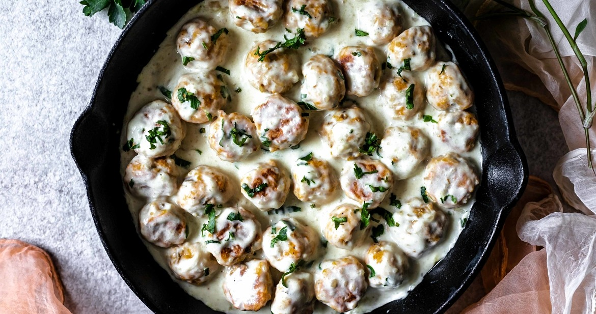 These Vegetarian Swedish Meatballs are low FODMAP, savory, flavorful, luscious, healthy, tossed in creamy gravy and so delicious.