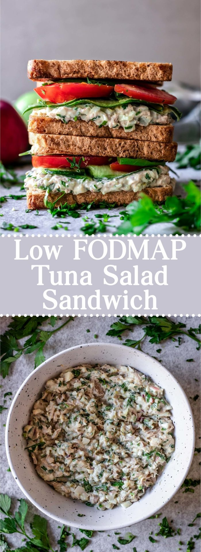 This Low FODMAP Tuna Salad Sandwich is flavorful, savory, filling, simple to make, customizable, seriously satisfying and so delicious!