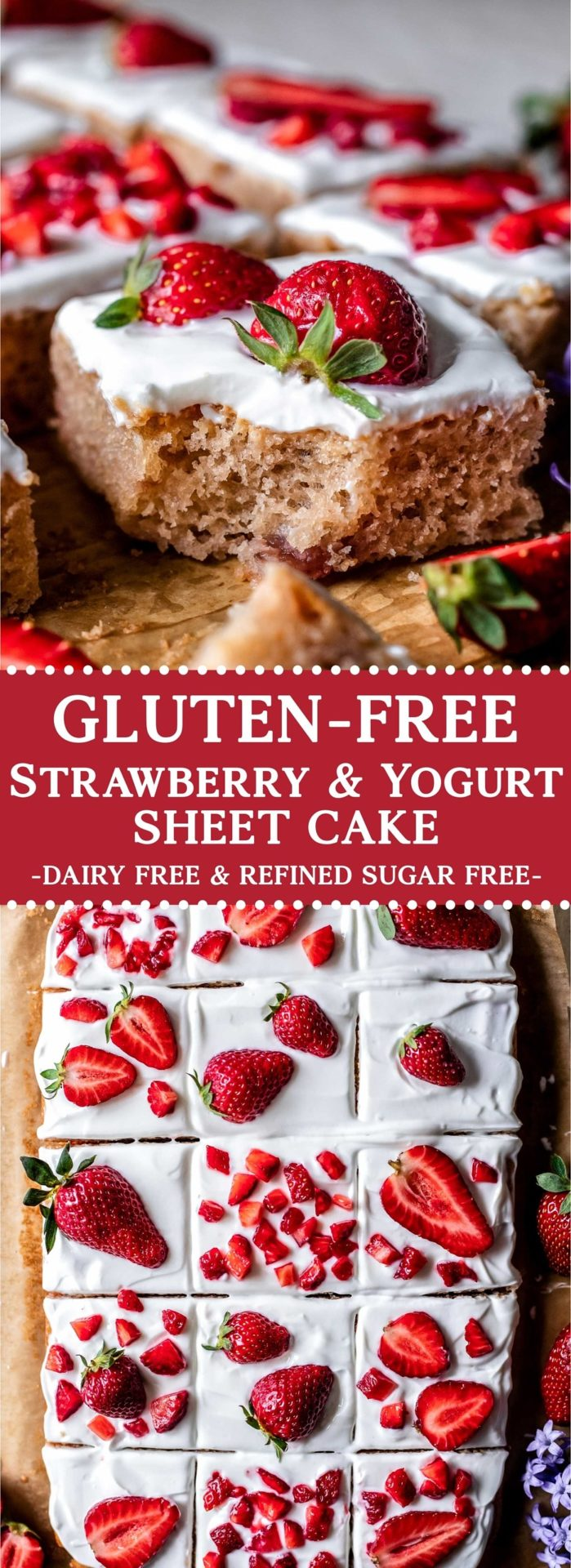 This Gluten-Free Strawberry & Yogurt Sheet Cake is tender, fruity, light, healthy, and incredibly easy to make! Plus it is gluten, dairy and refined sugar free!
