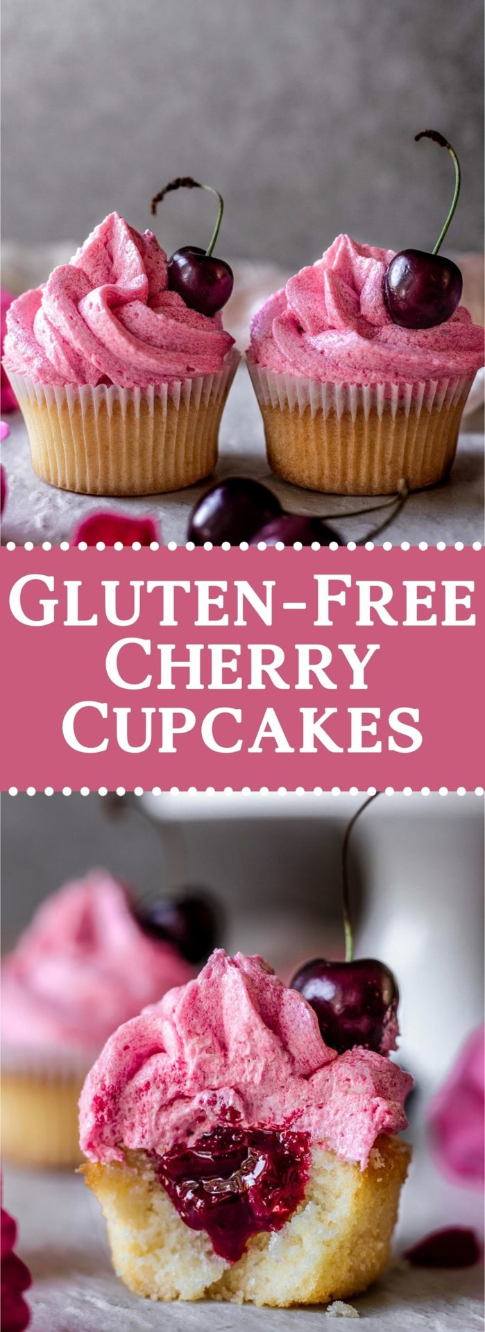 These Gluten-Free Cherry Cupcakes are tender and spongy, light, infused with cherries, fruity, and just so delicious!