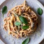 Creamy Swiss Chard & Sun-Dried Tomato Pasta.